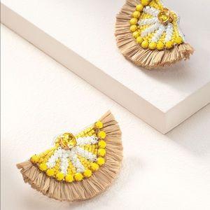 Stella & Dot Embroidered Lemon Earrings ~ New